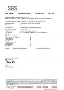 Audiniai tamsiai žaliai striukėms SGS sertifikatai